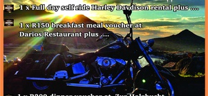 """R1800 for a full day self ride Harley rental plus 2 meal vouchers"""